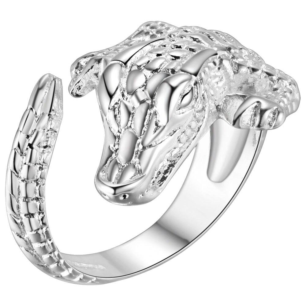 Anillo Chapado en plata joyería Rosa bonita anillos de boda para mujer regalo de San Valentín anillo de Caimán