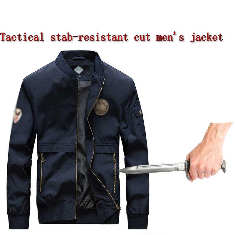 Chaqueta de seguridad de autodefensa a prueba de puñaladas a prueba de cortes, chaqueta de protección oculta de estilo chino con Collar de pie de policía militar táctica
