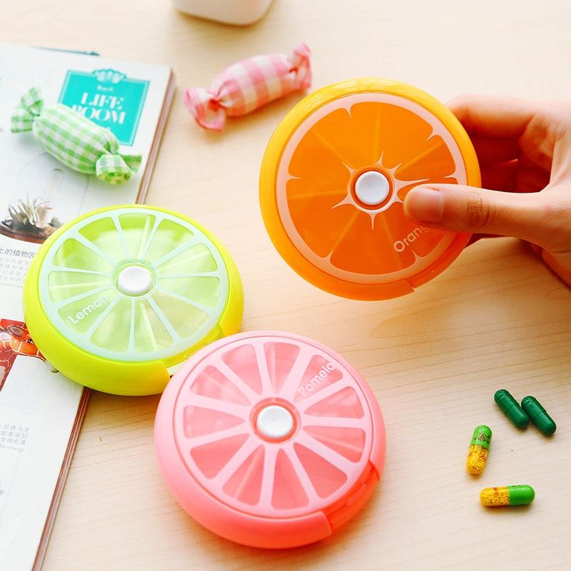 Portable Pill medicine funda exterior almacenamiento con divisores caja, lindo bonito con forma de fruta 7 ranuras píldoras caja de almacenamiento envío gratis.