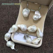 Pulseira gancho brincos conjunto de pérola tamanho grande estilo barroco ou irregular cor branca nucleated flameball forma pêra