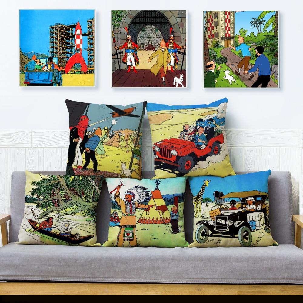 Funda de almohada con estampado The Adventures of Tintin, funda de cojín textil de 45x45 cm, funda de almohada de lino, funda de almohada, fundas de sofá, almohadas para decoración de hogar