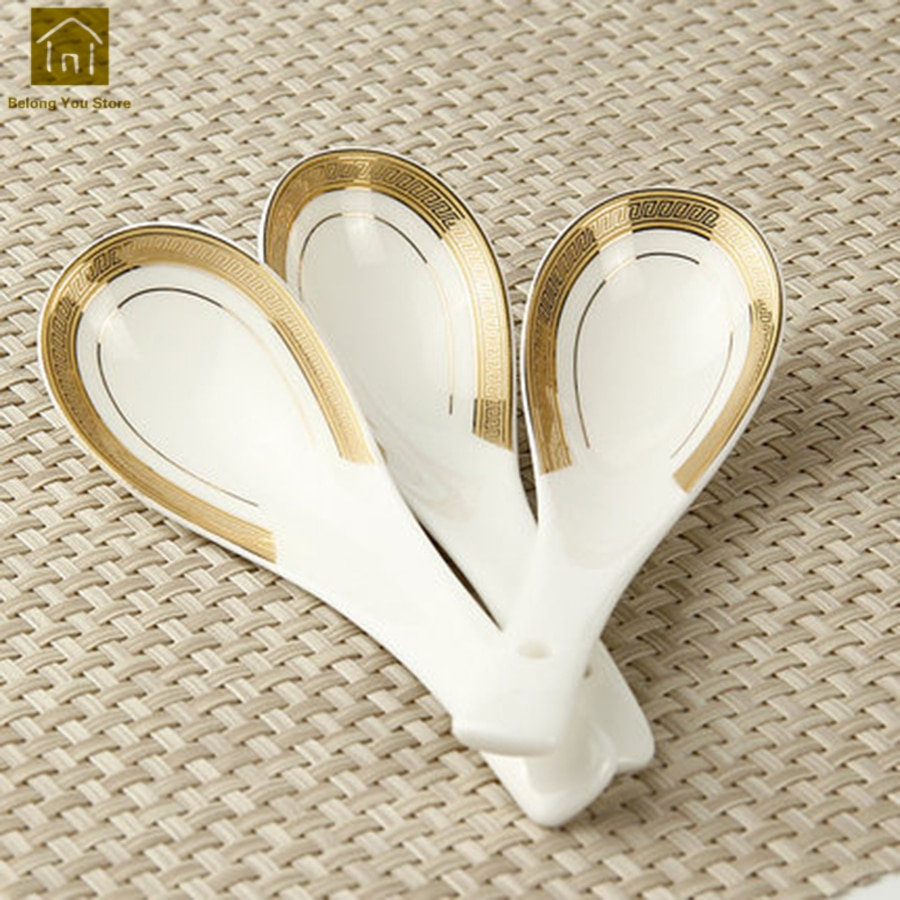 Cuchara sopera de cerámica de estilo chino, cuchara de porcelana blanca, cuchara para café, mesa, cuchara Colher, cuchara Keukenhulpjes, vajilla de fiesta WKI053
