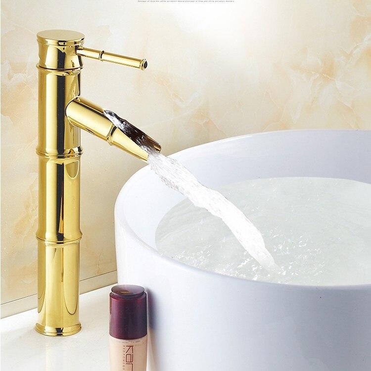 صنبور حوض غسيل مطلي بالذهب ، إكسسوارات حمام فاخرة ، صنبور حوض شلال عصري ، صنبور خلاط ، صنبور بيديت