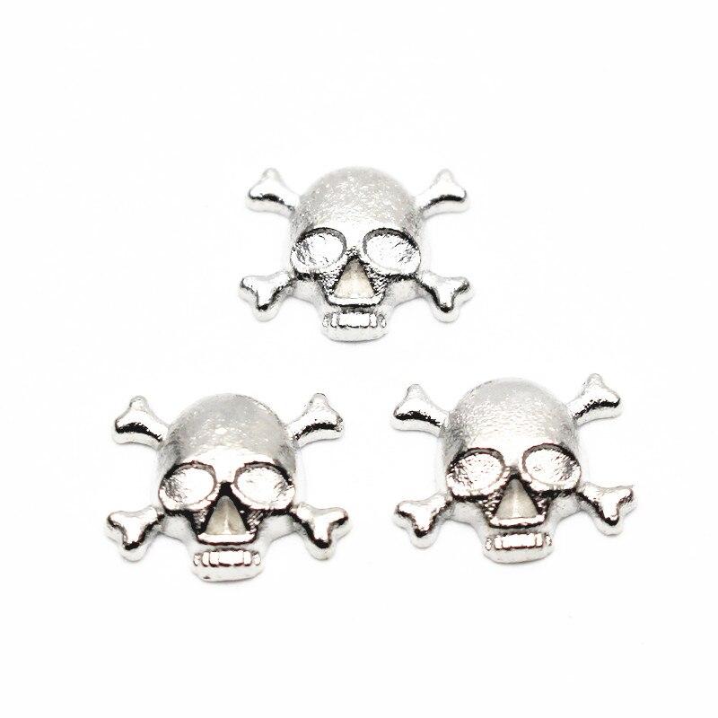 20 pcs/lot métal crâne argent amulettes flottantes pour vivant verre mémoire flottant médaillons collier bijoux à bricoler soi-même