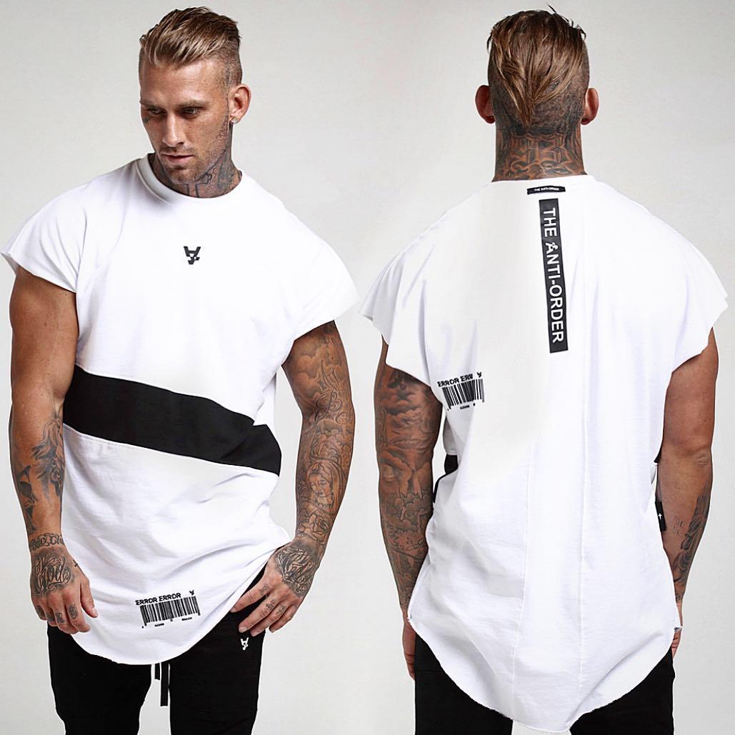 Мужская футболка с коротким рукавом, модная футболка в стиле хип-хоп, спортивные залы, хлопковая футболка для бодибилдинга, футболка с круглым вырезом для фитнеса