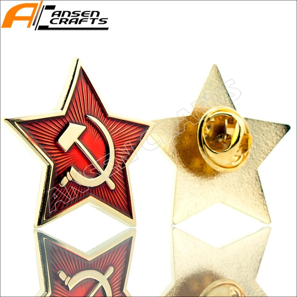 WW2 CCCP USSR Soviet Red Army Star Hat Cap Pin Badge