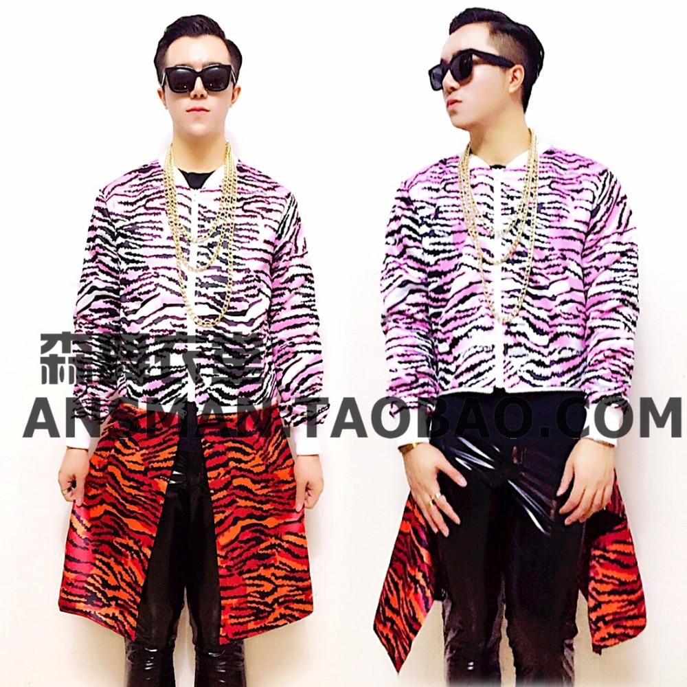 Nueva chaqueta de béisbol larga desmontable de leopardo a la moda para hombre, trajes de uniformes de hombre, escenario para bailarina o cantante, ropa para espectáculo