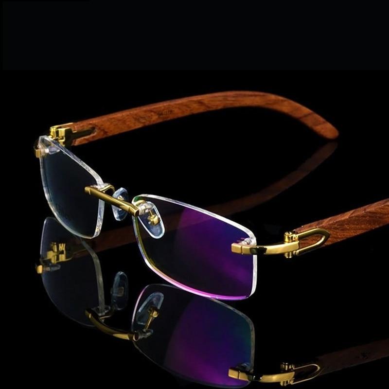 إطار نظارات ذهبي خشبي بدون إطار نظارات رجالي بإطار خفيف الوزن مع حافة بصرية إطارات نظارات بتصميم علامة تجارية نظارات لقصر النظر