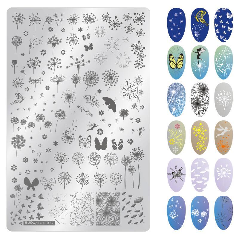Prostokątne płytki do tłoczenia paznokci wzór kwiatowy pieczątka na paznokcie szablon do tłoczenia płytka z obrazkiem szablony