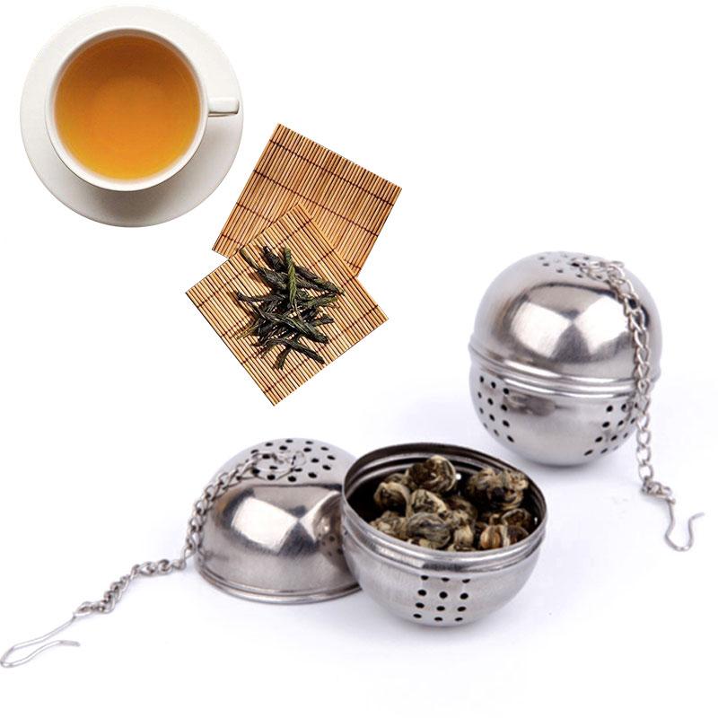 Durable plata reutilizable de malla inoxidable Bola de hierbas té especia colador tetera bloqueo té Filtro de especias herramienta para sopa