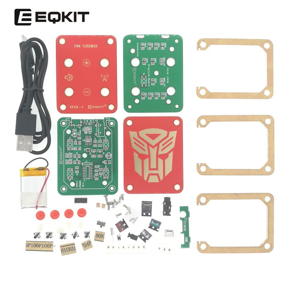 EQKIT Radio FM estéreo Kit de DIY Suite FM 76-108MHz Kit de Radio radio portátil