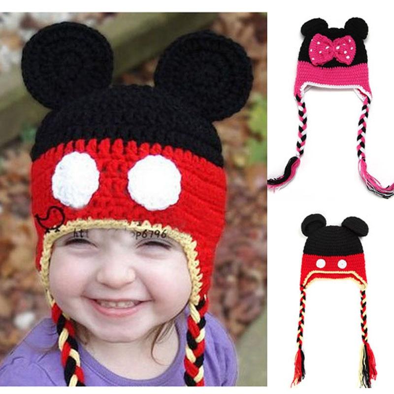 Cartoon Mickey Minnie Baby Hat Hand Crocheted Infant Newborn Earflaps Beanie Cap Newborn Knitted Photography Props H060