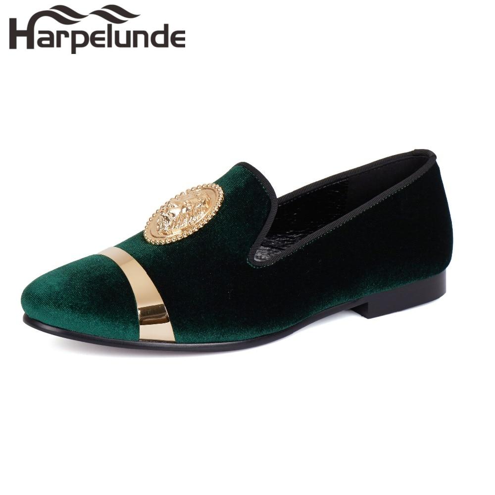 Harpelunde الانزلاق على اللباس أحذية الزفاف الأخضر المخملية المتسكعون الرجال الشقق حجم 6-14