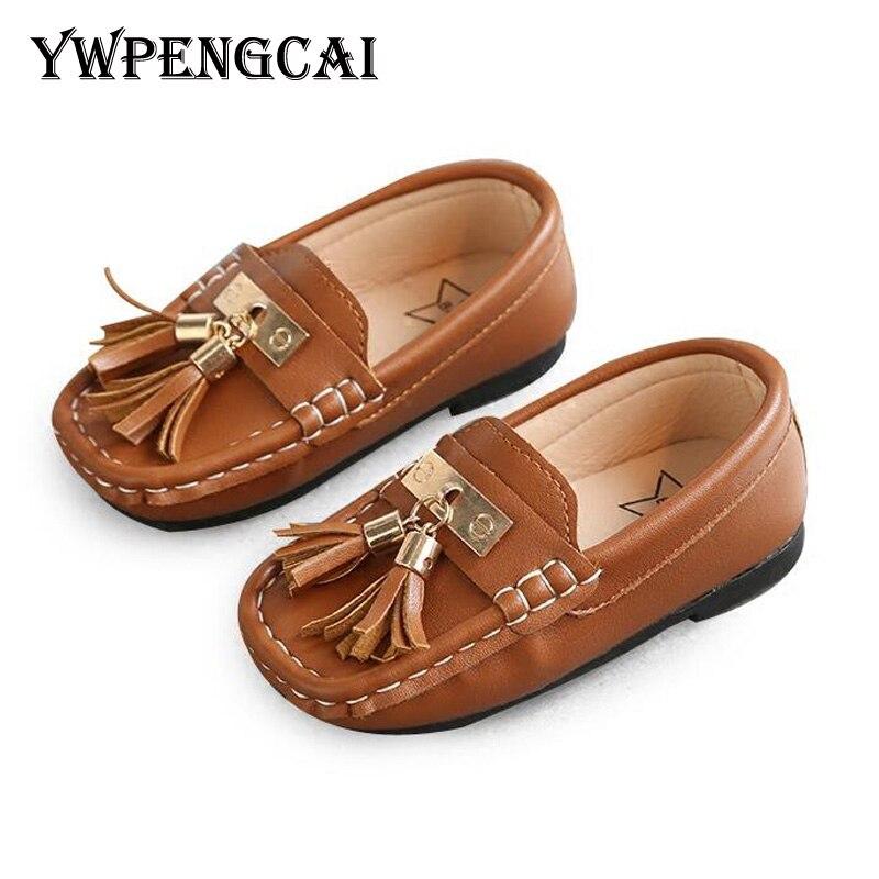 Moda niños borla Casual Zapatos Niños mocasines PU cuero niñas mocasines bebé Niño Zapatos blandos cómodos #8IC0230