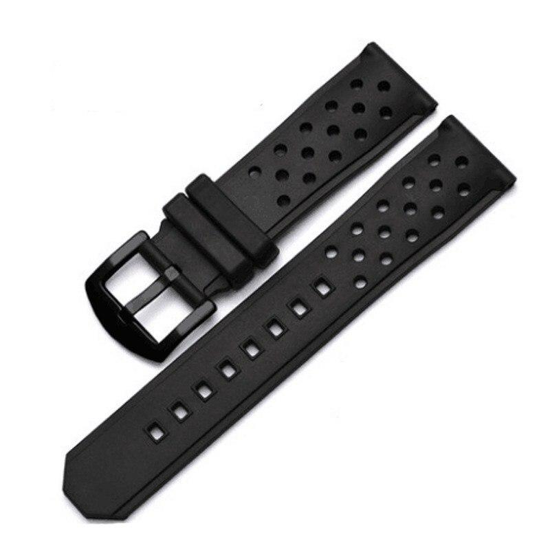 Correa de reloj de goma perforada de silicona de 22mm correa de reloj de Agujero de respiración resistente al agua pulsera de hebilla de Metal de acero inoxidable
