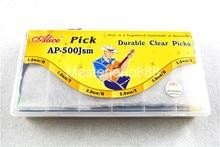 500 pièces boîte en plastique Alice AP-500JSM Durable clair Transparent Jazz guitare basse choix Plectrums 1.0/2.0/3.0mm