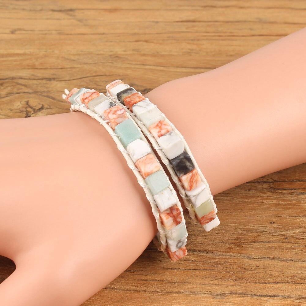 Pulsera de moda doble cubierta más piedras de color natural ajustable doble pulsera de cuero para hombre mujer joyería regalo