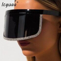 Moda de cristal oversize escudo viseira óculos de sol feminino 2019 plana top máscara onepiece tons homens à prova vento óculos gafas de sol