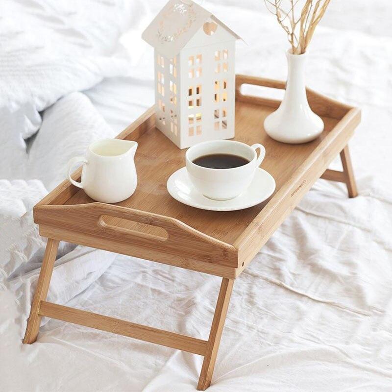 Portátil plegable Escritorio de bambú para ordenador portátil de escritorio Simple mesa de comedor para sofá mesa de cama para laptop en la cama mesas de Picnic