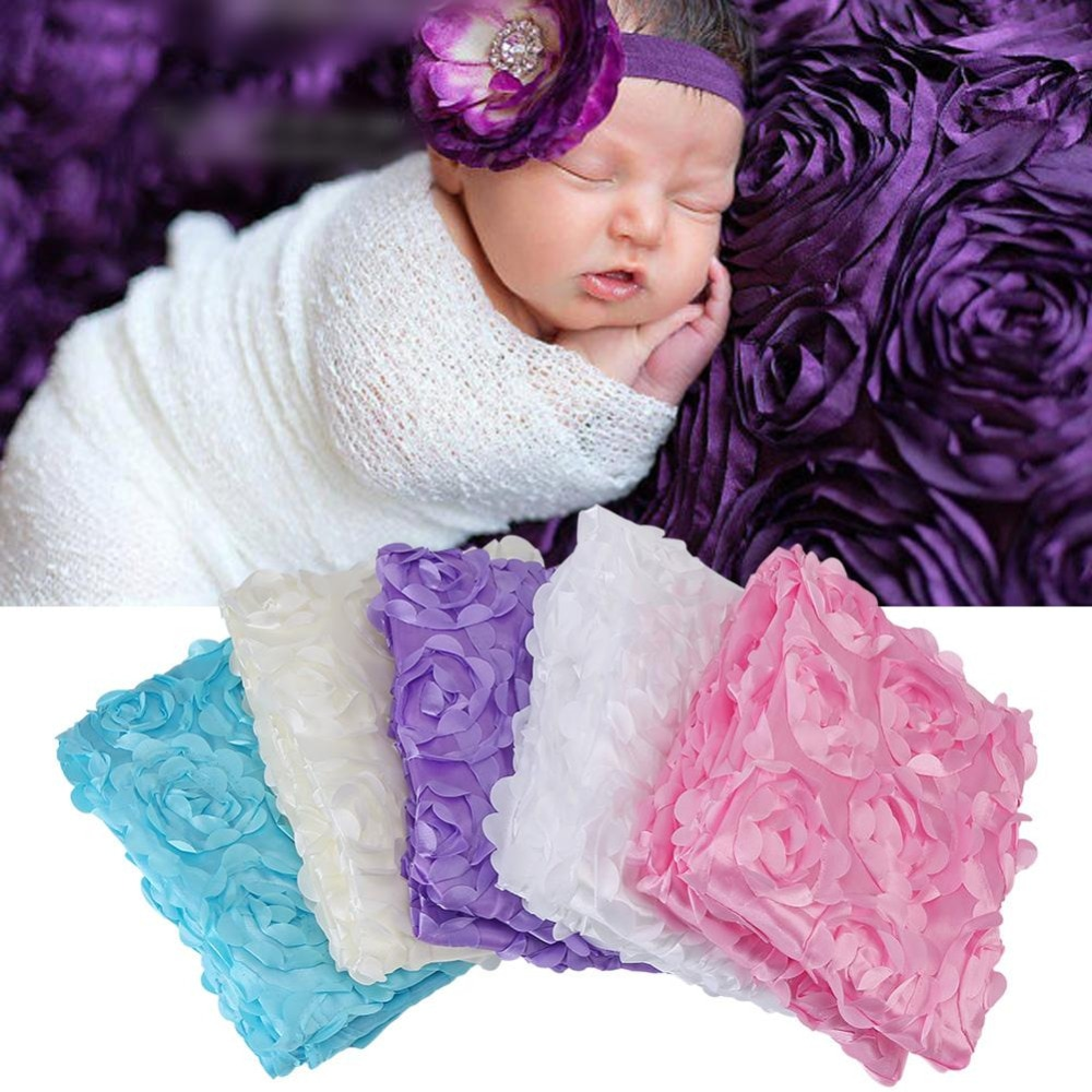 100*60cm Wraps Mini Blanket Stretch Rose Flower Wraps Newborn Baby Photography Props Boys Girls Basket Swaddling Accessories