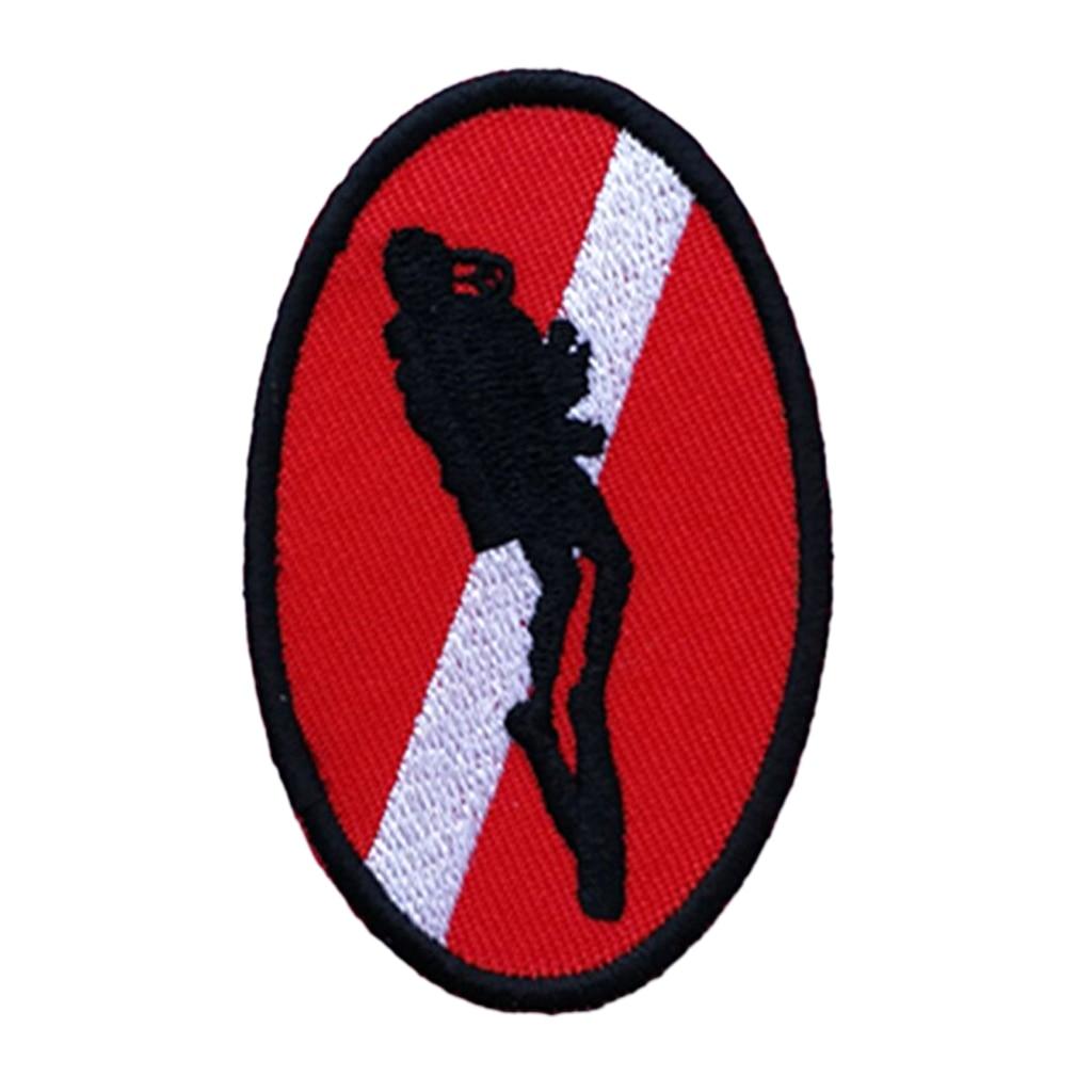 MagiDeal Oval 70X45mm Diver Down bandera parche bordado hierro en poliéster Scuba Diving insignias para mochila parches