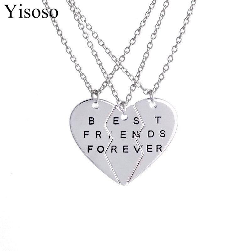 Yisoso collar de Gargantilla corazón colgante piezas rotas tres mejores amigos para siempre collar hombres mujeres collar joyería XL026