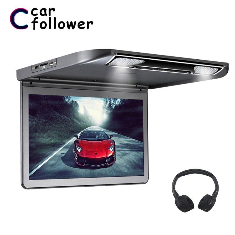 Monitores de reproductor MP5 abatibles de techo de 13,3 pulgadas con pantalla completa 1920*1080 HDMI USB SD IR FM Transmisor monitores para coches
