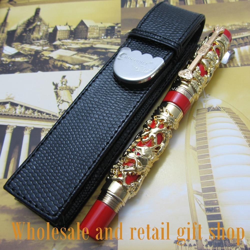 6pcs pen Jinhao Dragon Phoenix Heavy Chinese Classical Luck Clip roller pen and pen box
