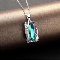 everoyal luxury color crystal necklace for girls wedding jewelry fashion 925 sterling silver necklace for women accessories hot