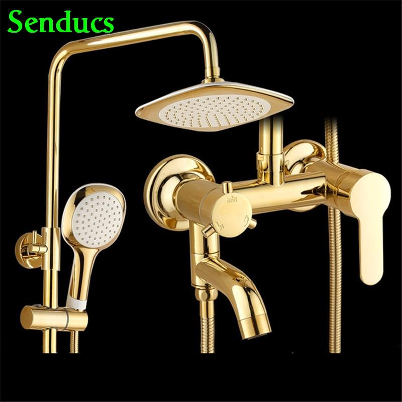 Senducs-مجموعة دش فاخرة ، نظام دش نحاسي مصقول عالي الجودة ، صنبور حمام مربع ABS علوي