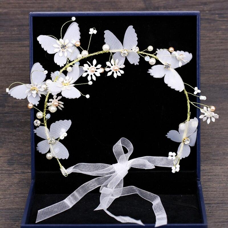 Nuevo diseño, diademas de novia con mariposa y perlas, accesorios para el cabello para boda, Tiara para novia, joyería elegante para el cabello para mujer