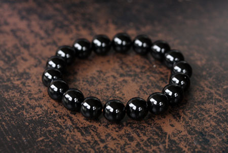 12mm pulserase ônix preto homens pedra natural trecho pulseira elástica jóias rodada contas encantos suaves expansível moda diy