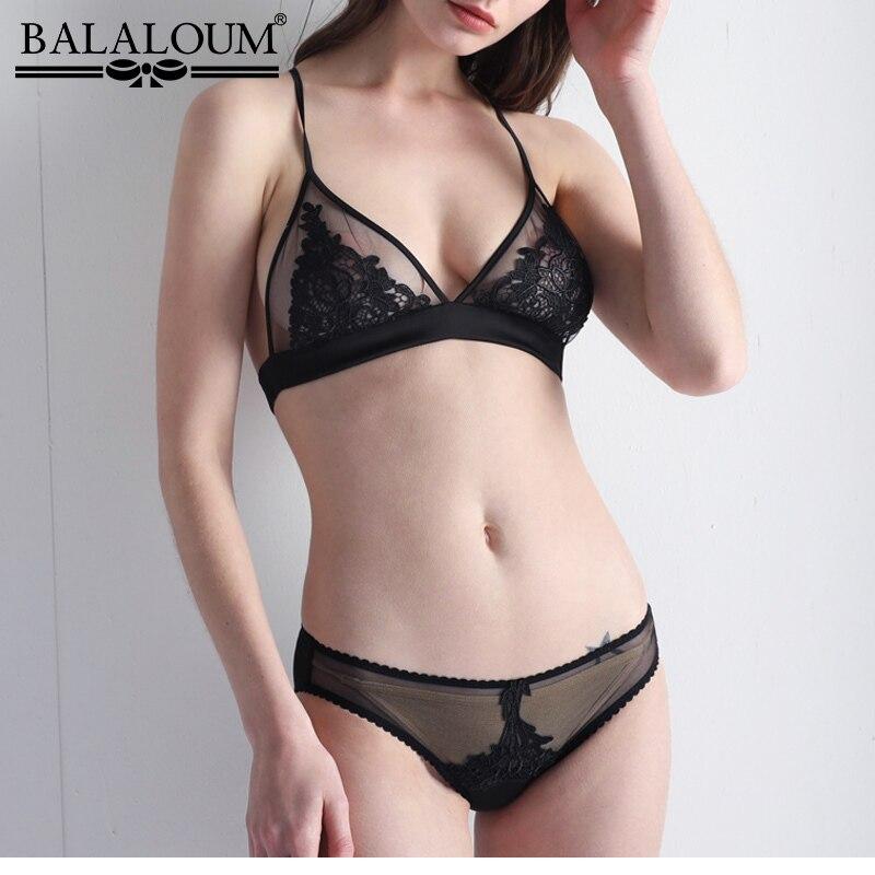 Balaloum bralette transparente ultra fino conjunto sutiã sexy feminino triangel cup sem fio sutiã conjunto lingerie feminina erótico