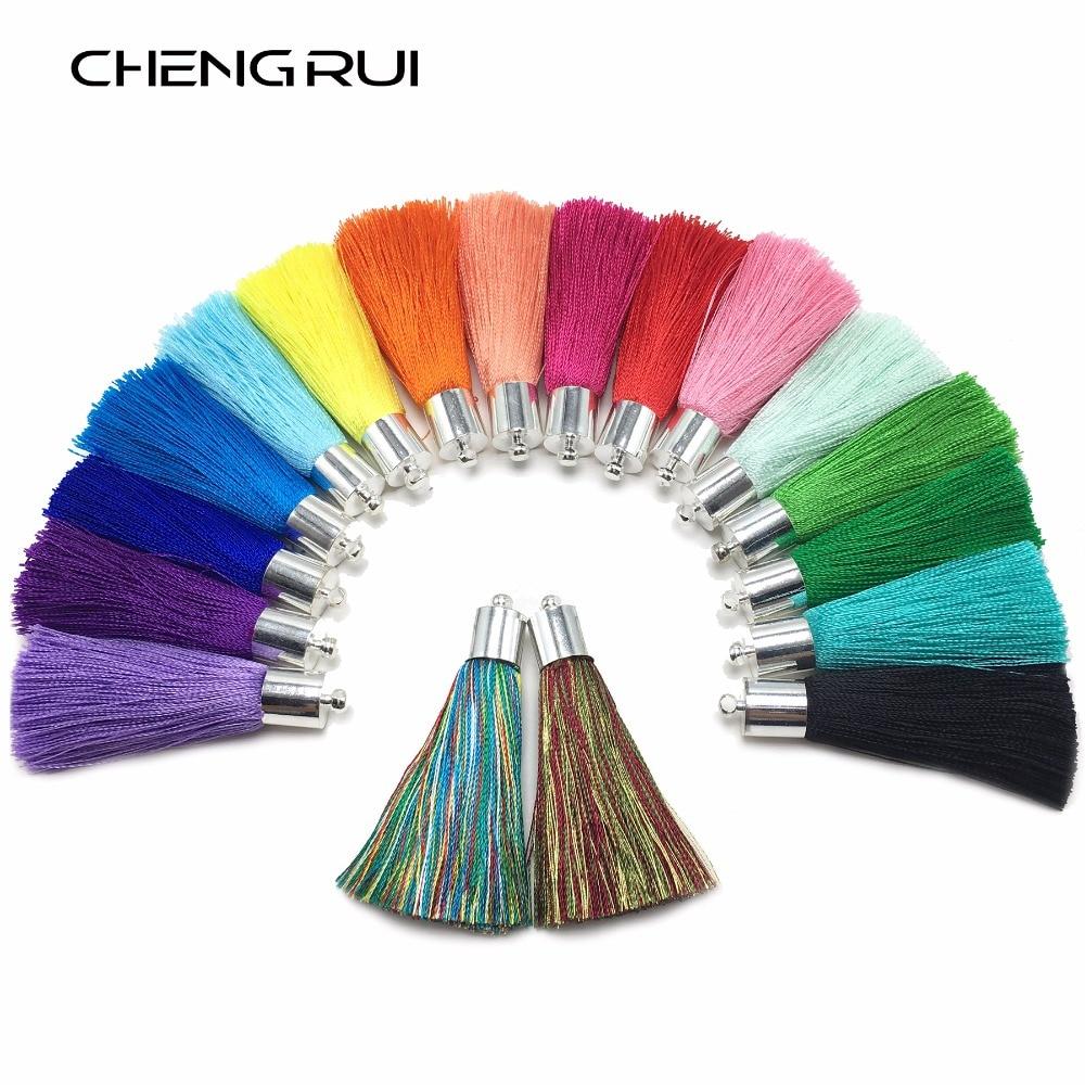 Chengrui cortina de seda, l92, 5cm, borlas de seda, pincel, artesanato, franja de seda, achados de brincos, frangas para costura, tecido de franja, 4 pçs/saco