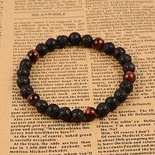 Bracelets noirs extensibles perlés domineerLava à rayures naturelles 6 brins, avec perles en œil de tigre, cadeaux de la saint-valentin 60mm pour femmes