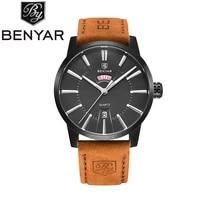 benyar brand luxury business quartz watch fashion waterproof leather dress calendar wristwatches clock for men relogio masculino