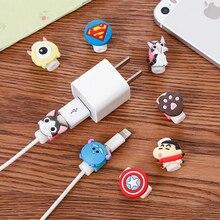 FFFAS Cartoon zabezpieczenie kabla organizer na kable usb Winder osłona Case słuchawka Shell dla Apple IPhone 5 5S 6 6s 7s X Plus