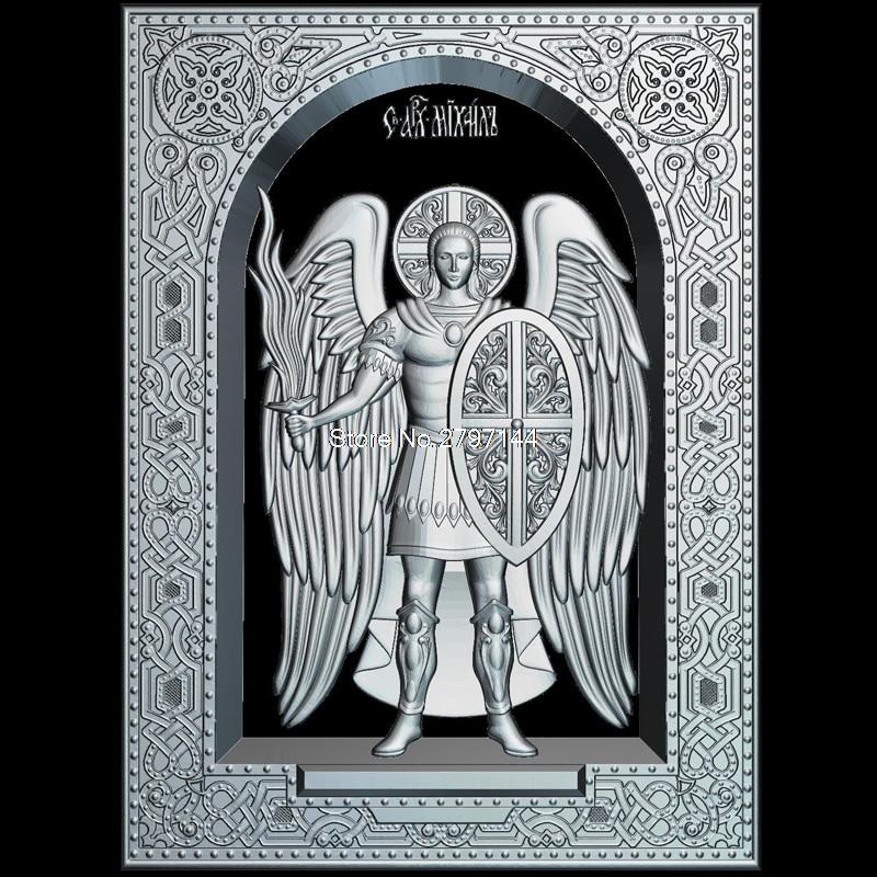 Marco de Saint_1 miheave (Arhanghelul) relieve de modelo 3D figura de formato STL Religion 3d relieve de modelo para cnc en formato de archivo STL