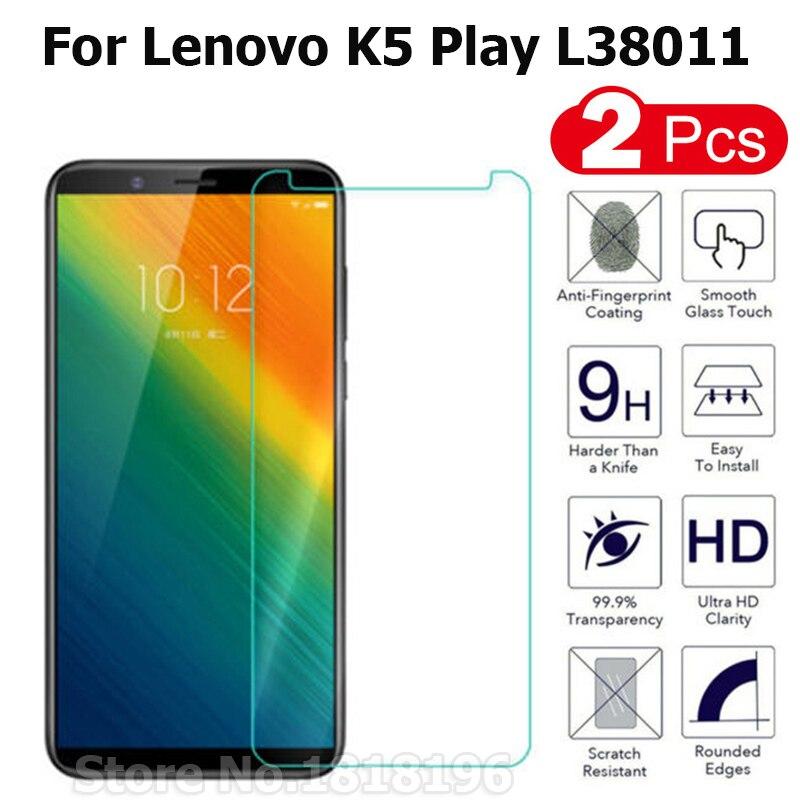 2 uds Lenovo K5 Play l38011 vidrio templado Original 2.5D 9H Protector de pantalla película protectora en Funda Lenovo K5 Play 2018 vidrio ^