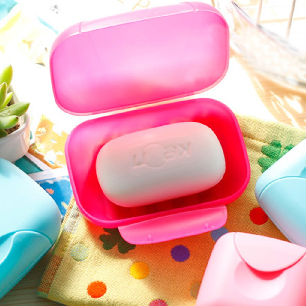 Travel Soap Dish Box Holder Container  Portable Color Sealed Soap Case Bathroom Soap Holders Round Travel Supplies