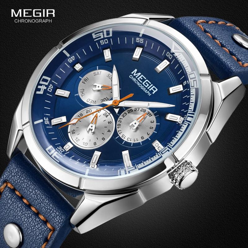 Relojes MEGIR genuinos de cuarzo para hombre, relojes de cuero auténtico, relojes de carreras para hombre, juego para estudiantes, reloj cronógrafo, manos luminosas para hombre