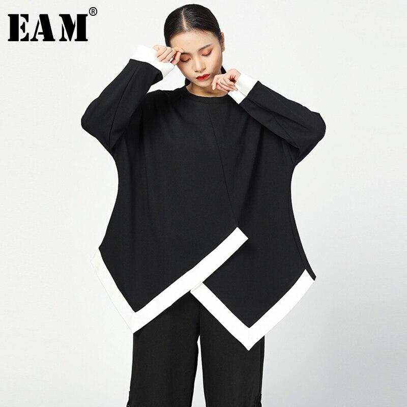 [Eam] solto ajuste preto irregular camisola nova em torno do pescoço manga longa feminina tamanho grande moda maré primavera outono 2020 jy735