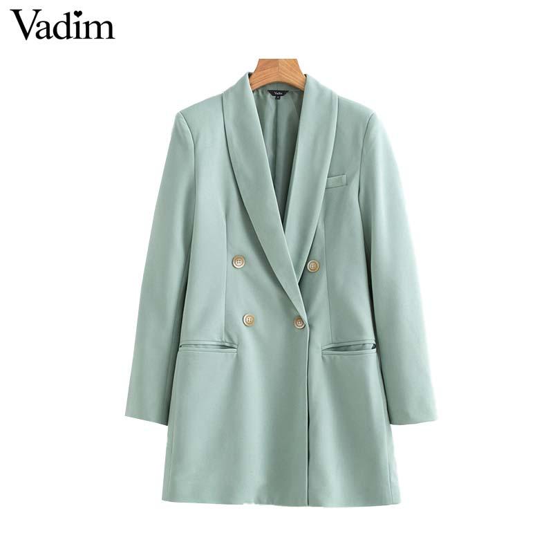 Vadim mujeres chic blazer largo doble botonadura bolsillos manga larga Oficina desgaste abrigos sólido femenino casual prendas de vestir exteriores tops CA503