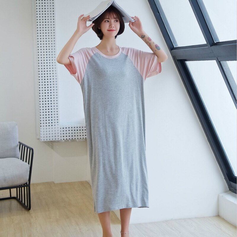 Vestido de dormir Extra largo para mujer Lencería camisón de verano coreano fino Modell suelto liso Simple de talla grande ropa de dormir de manga corta
