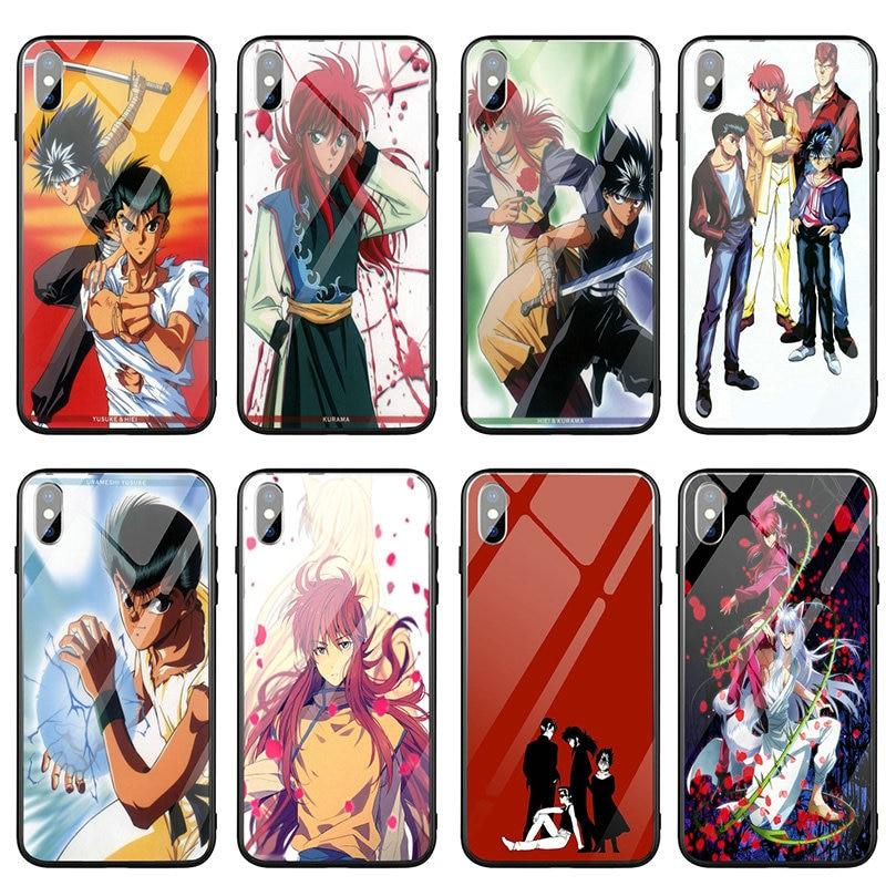 Funda de teléfono de vidrio templado Yu Hakusho para iPhone 5 5S SE X XR XS Max 6 6 S 6 Plus 6 Plus 7 7 Plus 8 8 Plus bolsas