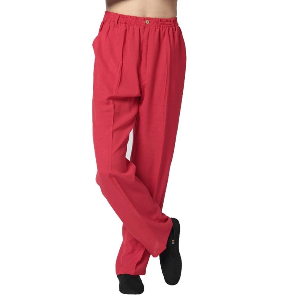 Мужские брюки кунг-фу, красные китайские брюки из хлопка и льна, M, L, XL, XXL, XXXL, WNS031810