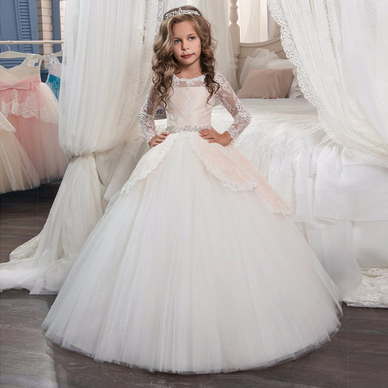 new arrival princess short sleeves lace flower girl dresses 2019 pink appliqued ball gowns for girls first communion dresses New Princess Lace Flower Girl Dresses Long Sleeves Floor Length Pageant Dresses First Communion Dresses Ball Gowns For Girl
