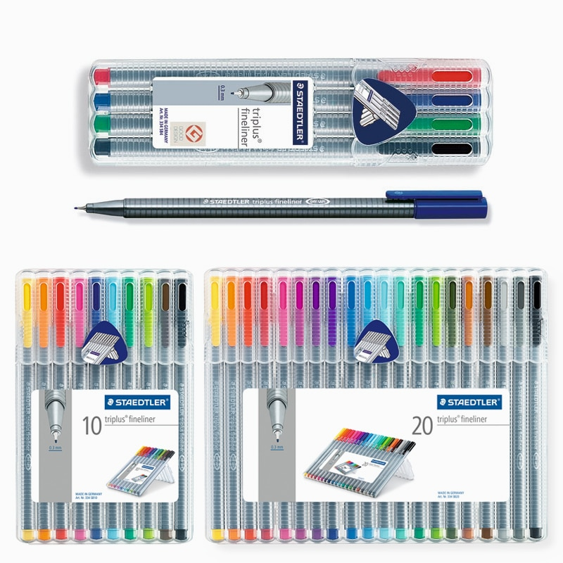 Staedtler 334 SB Triplus, pluma de fibra Fineliner, bolígrafo de Color de Gel, conjunto de 0,3mm, 4/10/20 colores, papelería, suministros escolares y de oficina