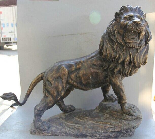 "JP S0524 23 ""de Bronce Chino Folk Feng Hui Feng Shui animal Feroz león escultura Estatua"