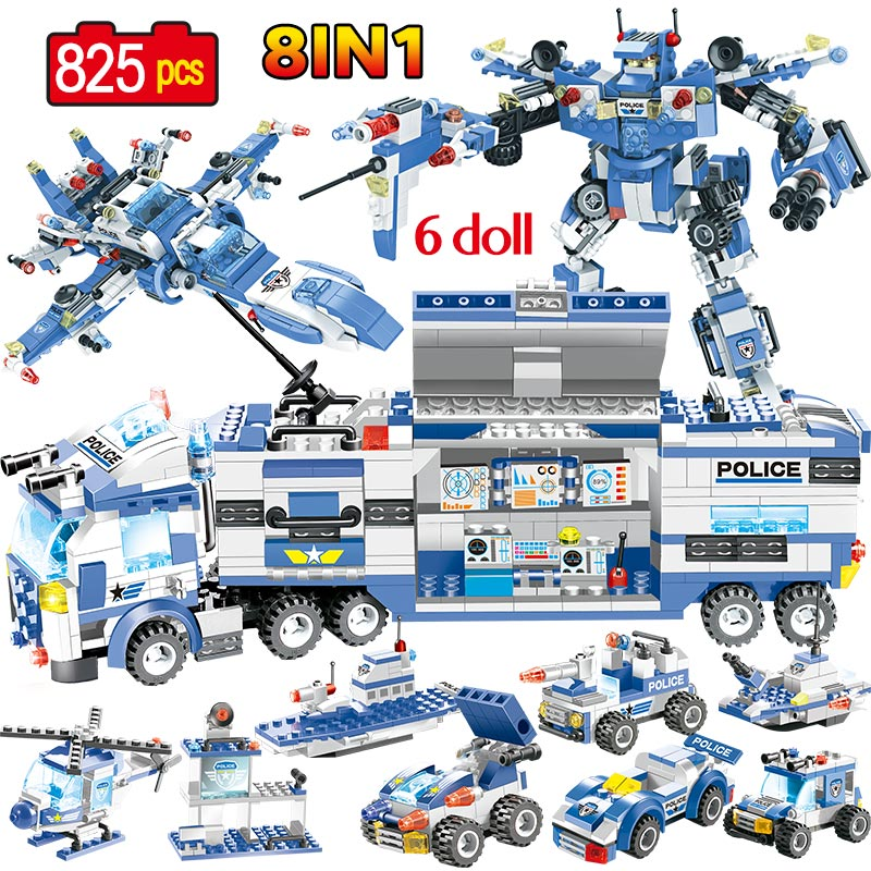 8 en 1 SWAT de la policía móvil camión estación robótico armadura edificio bloques, Policía cifras ladrillos de juguete para los niños